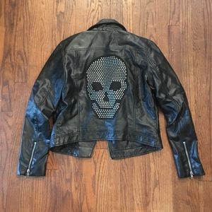 H&M Faux Leather Moto Jacket with Skull